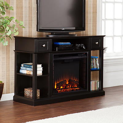 Briggen Media Console Fireplace - Black