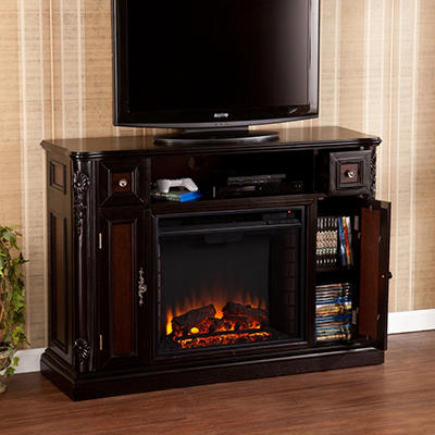 Ebony Media Console Fireplace w/ Reversible Inserts