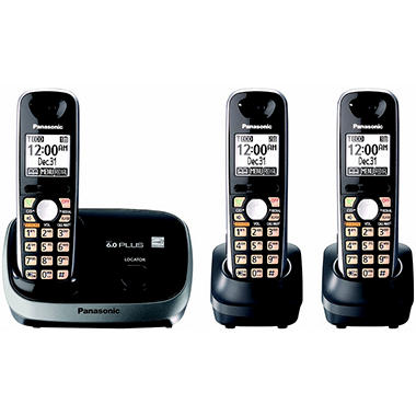 Panasonic DECT 6.0 PLUS Expandable Digital Cordless Telephone with 3 Handsets