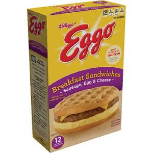Kellogg's Eggo Breakfast Sandwiches, Sausage Egg and Cheese (12 ct.)