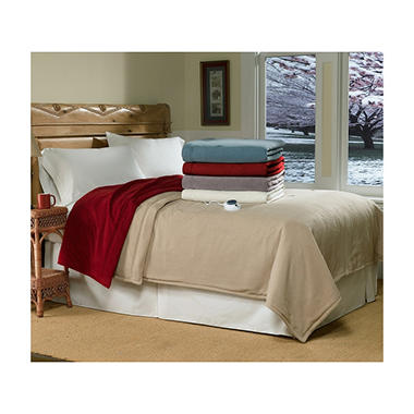 Serta® Micro-Fleece Electric Heated Blanket - Twin - Beige