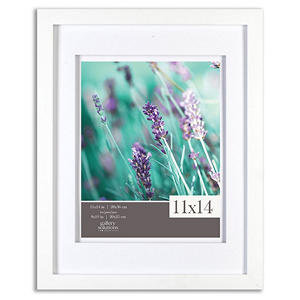 "Gallery Solutions 11"" x 14"" White Frame with White Airfloat Mat"