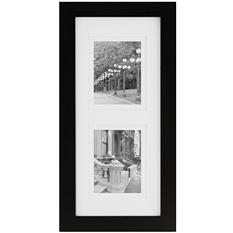 "Gallery Solutions 8"" x 20"" Collage Photo Frame, Black with White Mat"