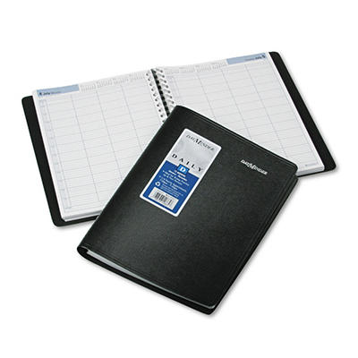 """DayMinder - Recycled Four-Person Group Daily Appointment Book, Black, 7 7/8"""" x 11"""" -  2015"""