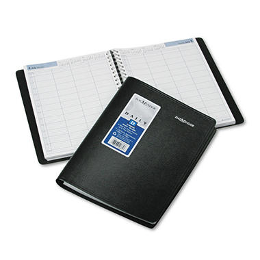 "DayMinder Premiere Recycled Four Person Group Daily Appointment Book - Black - 7 7/8"" x 11"""