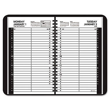 AT-A-GLANCE - Recycled Daily Appointment Book, Black, 4 7/8