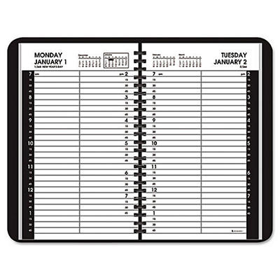 "AT-A-GLANCE - Recycled Daily Appointment Book, Black, 4 7/8"" x 8"" -  2015"