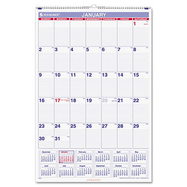AT-A-GLANCE - Recycled Monthly Wall Calendar, Blue and Red, 20