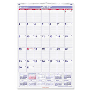 AT-A-GLANCE - Monthly Wall Calendar with Ruled Daily Blocks, 20 x 30, White -  2016