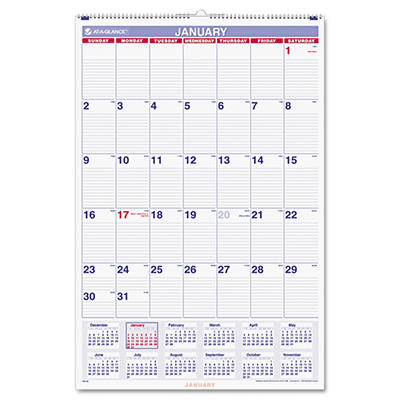 "AT-A-GLANCE - Recycled Monthly Wall Calendar, Blue and Red, 20"" x 30"" -  2015"