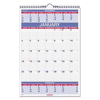 AT-A-GLANCE - Recycled Three-Month Calendar - 15 1/2 x 22 3/4 - 2014