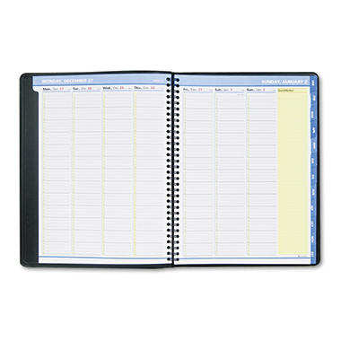 "At-A-Glance QuickNotes Recycled Weekly/Monthly Appointment Book - Black - 8 1/4"" x 10 7/8"""