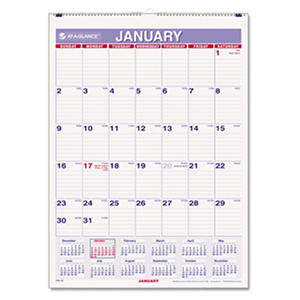 AT-A-GLANCE - Monthly Wall Calendar with Ruled Daily Blocks, 8 x 11, White -  2016