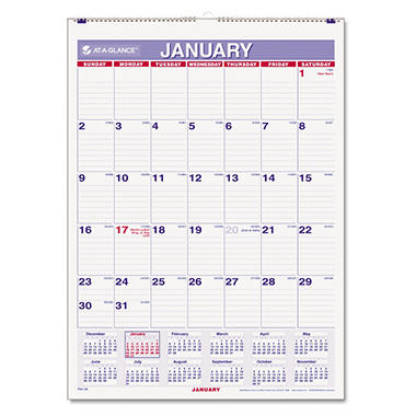 AT-A-GLANCE - Recycled Monthly Wall Calendar, Blue and Red, 8