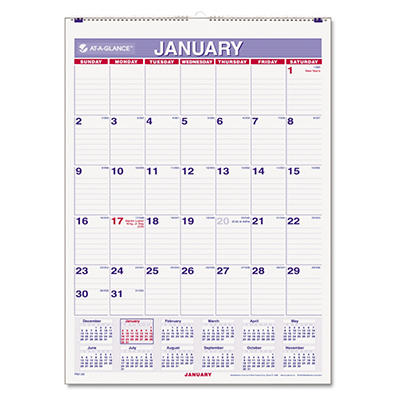 "AT-A-GLANCE - Recycled Monthly Wall Calendar, Blue and Red, 8"" x 11"" -  2015"
