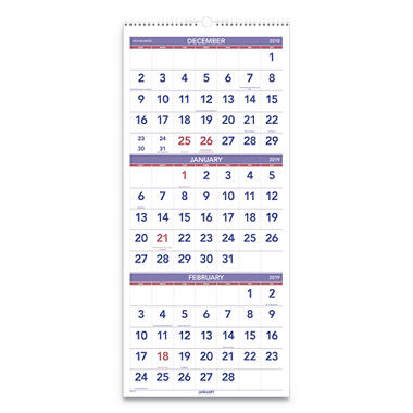 "AT-A-GLANCE - Recycled Three-Month Reference Wall Calendar, 12"" x 27"" -  2014-2016"