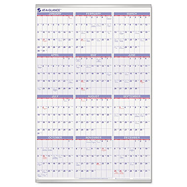 AT-A-GLANCE - Recycled Yearly Wall Calendar - 24 x 36 - 2014