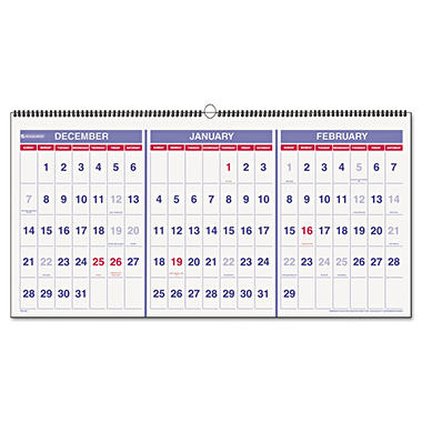 AT-A-GLANCE - Recycled Three-Month Reference Wall Calendar, 23 1/2