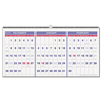 "AT-A-GLANCE - Recycled Three-Month Reference Wall Calendar, 23 1/2"" x 12"" -  2014-2016"