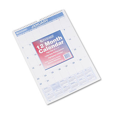 AT-A-GLANCE - Recycled Monthly Wall Calendar, Blue and Red, 12