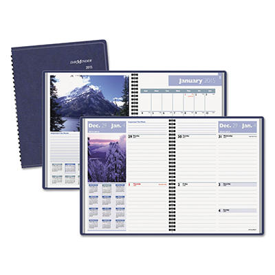 """DayMinder Recycled Scenic Weekly/Monthly Planner, Blue, 8 1/4"""" x 10 7/8"""" -  2015"""