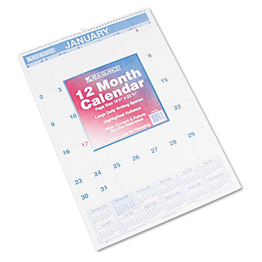 AT-A-GLANCE - Recycled Monthly Wall Calendar, Blue and Red,15 1/2