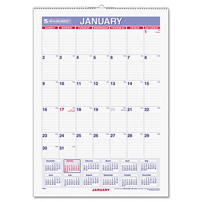 "AT-A-GLANCE Recycled Erasable Monthly Wall Calendar, 12"" x 17"" -  2015"