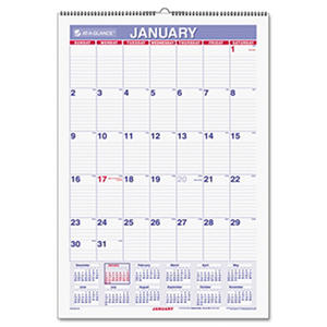 AT-A-GLANCE - Erasable Wall Calendar, 15 1/2 x 22 3/4, White -  2016