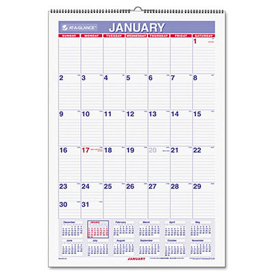 "AT-A-GLANCE Recycled Monthly Erasable Wall Calendar, 15 1/2"" x 22 3/4"" -  2015"