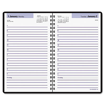 "DayMinder - Recycled Daily Appointment Book, Black, 4 7/8"" x 8"" -  2015"
