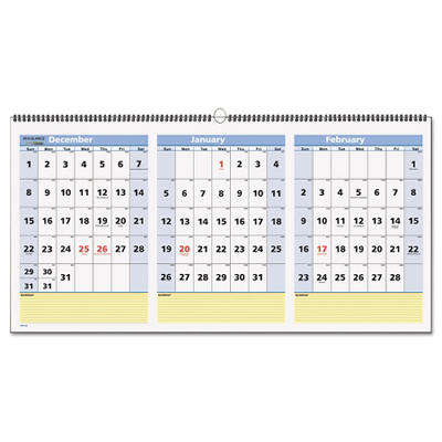 "AT-A-GLANCE QuickNotes Three-Month Horizontal Wall Calendar, 23 1/2"" x 12"" -  2014-2016"