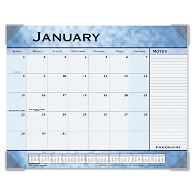 AT-A-GLANCE - Recycled Slate Blue Desk Pad, 22