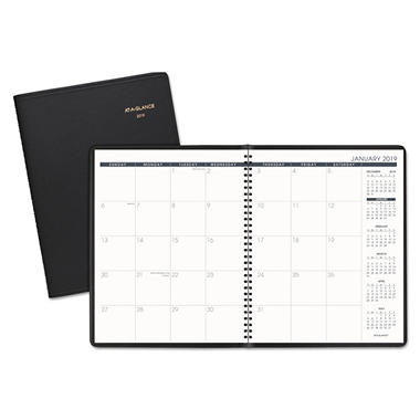 AT-A-GLANCE - Recycled Monthly Planner - Black - 9 x 11 - 2014-2015