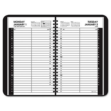 "AT-A-GLANCE Recycled Daily Appointment Book, Black - 4 7/8"" x 8"" -  2014"