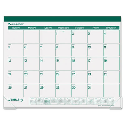 "AT-A-GLANCE Recycled Fashion Desk Pad, Green, 22"" x 17"" -  2015"