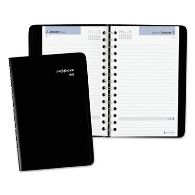"DayMinder Recycled Daily Appointment Book, Black, 4 7/8"" x 8"" -  2015"
