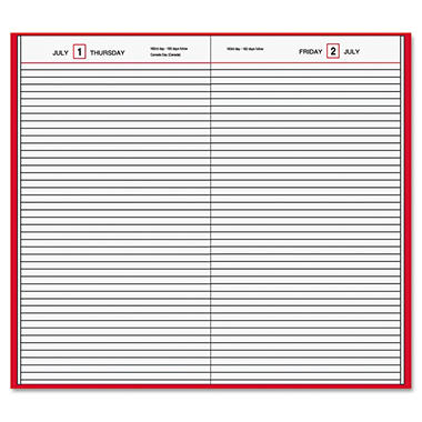 AT-A-GLANCE - Standard Diary Recycled Daily Diary - Red - 7 11/16 x 12 1/8
