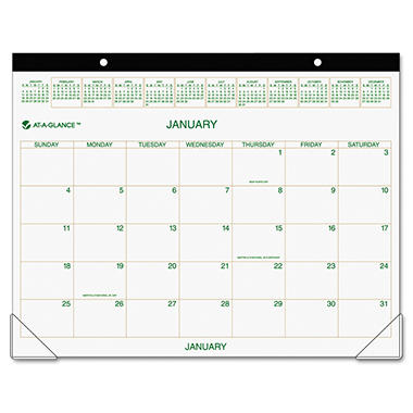 AT-A-GLANCE - Recycled Two-Color Desk Pad Calendar, Green and Brown, 22