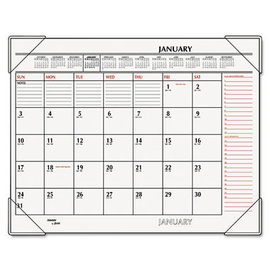 AT-A-GLANCE - Recycled Two-Color Desk Pad, Black and Red, 22