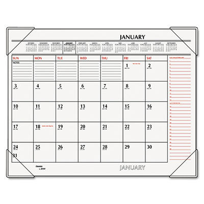 "AT-A-GLANCE - Recycled Two-Color Desk Pad, Black and Red, 22"" x 17"" -  2015"