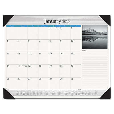 AT-A-GLANCE Recycled Black-and-White Desk Pad, Black and White, 22 x 17 -  2015