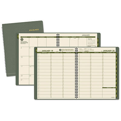 "AT-A-GLANCE Recycled Weekly/Monthly Appointment Book, Green, 8 1/4"" x 10 7/8"" -  2015"