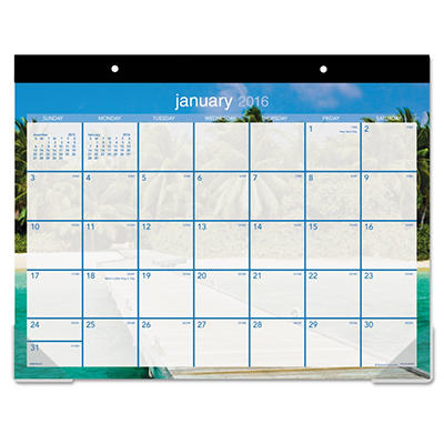 """AT-A-GLANCE Recycled Tropical Escape Desk Pad, 22"""" x 17, Design -  2015"""