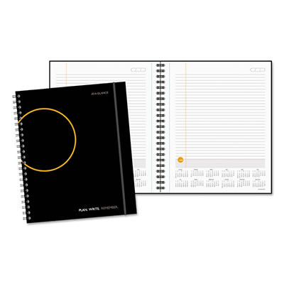 "AT-A-GLANCE Planning Notebook With Reference Calendar, Black -  9 3/16"" x 11"""