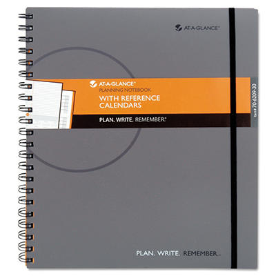 "AT-A-GLANCE Planning Notebook With Reference Calendar, Gray -  9 3/16"" x 11"""