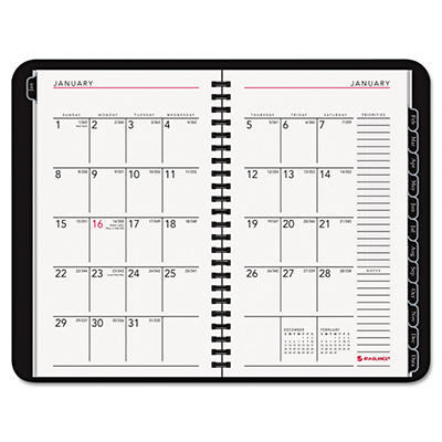 AT-A-GLANCE Contemporary Wirebound Weekly/Monthly Planner, 4-7/8 x 8, Black -  2015