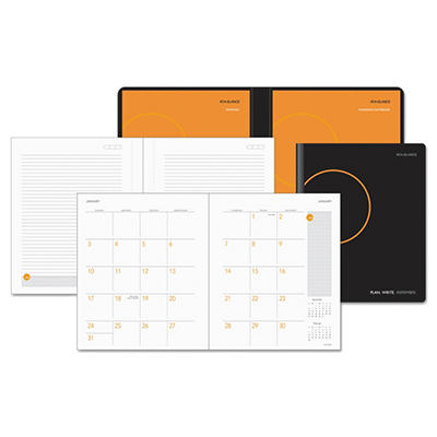 "AT-A-GLANCE Monthly Planner And Notebook, 9-1/2"" x 11"", Black -  2015-2016"