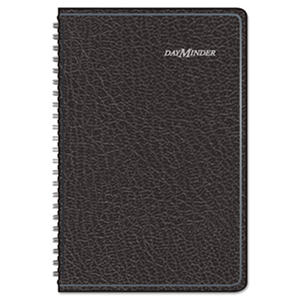 DayMinder - Weekly Appointment Book with Telephone/Address Section, 4 7/8 x 8, Black -  2016