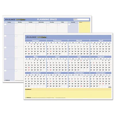 AT-A-GLANCE QuickNotes Recycled Mini Erasable Wall Planner, 16 x 12 -  2015