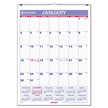 At-A-Glance Recycled Monthly Wall Calendar - Blue/Red - 8